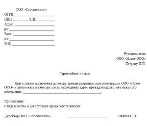 Письмо Арендодателю о Предоставлении Юридического Адреса образец