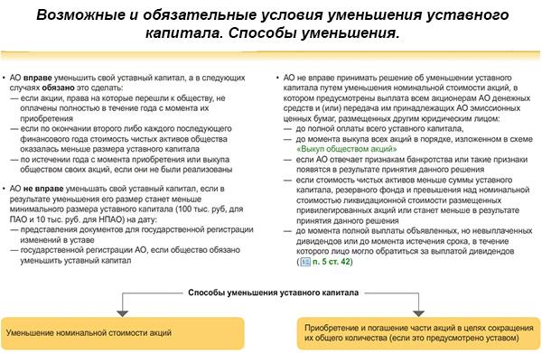Уменьшение уставного капитала АО